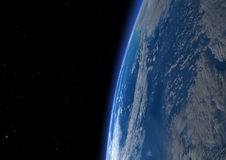 3D Rendering Blue Plant Earth. 3D rendering of a blue planet Earth in outer space. Some  elements of this image furnished by NASA Stock Photos