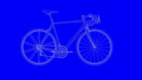 3d rendering of a blue print bike in white lines on a blue backg. Round Stock Image