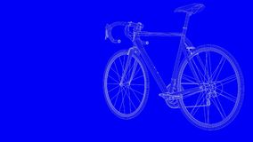 3d rendering of a blue print bike in white lines on a blue backg. Round Stock Photo
