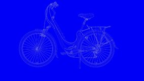 3d rendering of a blue print bike in white lines on a blue backg. Round Royalty Free Stock Images