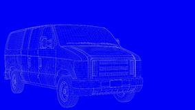 3d rendering of a blue print car in white lines on a blue backgr Royalty Free Stock Photos