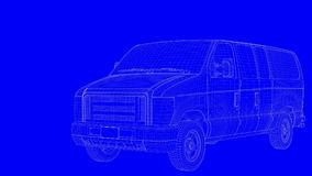 3d rendering of a blue print car in white lines on a blue backgr Royalty Free Stock Images