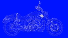3d rendering of a blue print motor  in white lines on a blue bac. Kground Royalty Free Stock Photography