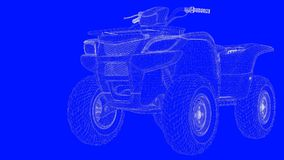 3d rendering of a blue print motor  in white lines on a blue bac. Kground Royalty Free Stock Photo