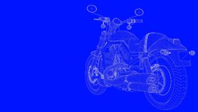 3d rendering of a blue print motor  in white lines on a blue bac. Kground Stock Photography