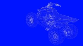 3d rendering of a blue print motor  in white lines on a blue bac. Kground Stock Photo