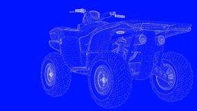 3d rendering of a blue print motor  in white lines on a blue bac. Kground Stock Image