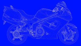 3d rendering of a blue print motor  in white lines on a blue bac. Kground Royalty Free Stock Image