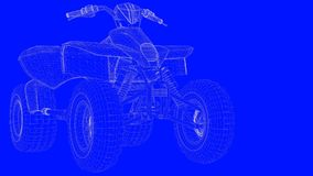 3d rendering of a blue print motor  in white lines on a blue bac. Kground Stock Images
