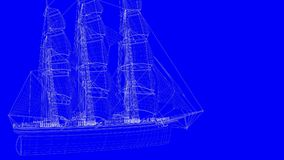 3d rendering of a blue print sail boat in white lines on a blue. Background Royalty Free Stock Photos