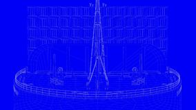3d rendering of a blue print ship in white lines on a blue backg. Round Royalty Free Stock Images
