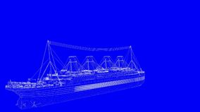 3d rendering of a blue print ship in white lines on a blue backg. Round Stock Photo