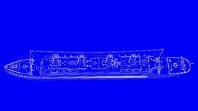 3d rendering of a blue print ship in white lines on a blue backg. Round Stock Photography