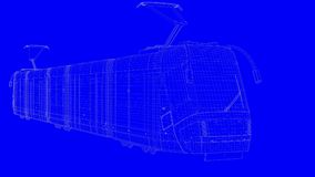 3d rendering of a blue print train in white lines on a blue back. Ground Royalty Free Stock Photography