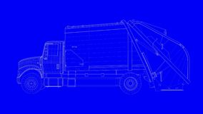 3d rendering of a blue print truck in white lines on a blue back. Ground Stock Image