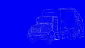 3d rendering of a blue print truck in white lines on a blue back. Ground Royalty Free Stock Photography