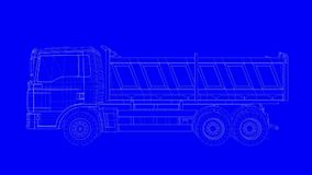 3d rendering of a blue print truck in white lines on a blue back. Ground Royalty Free Stock Photos