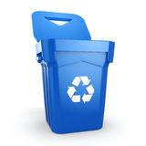 3D rendering Blue Recycling Bin. Isolated on white background Royalty Free Stock Image