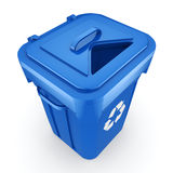 3D rendering Blue Recycling Bin. Isolated on white background Stock Image