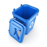 3D rendering Blue Recycling Bin. Isolated on white background Royalty Free Stock Photo