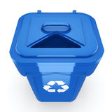3D rendering Blue Recycling Bin. Isolated on white background Stock Images