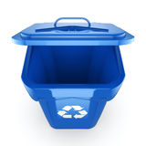 3D rendering Blue Recycling Bin. Isolated on white background Stock Photo