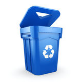 3D rendering Blue Recycling Bin. Isolated on white background Stock Photos