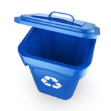 3D rendering Blue Recycling Bin. Isolated on white background Royalty Free Stock Photos