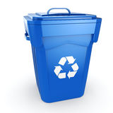 3D rendering Blue Recycling Bin Stock Images