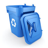 3D rendering Blue Recycling Bin. Isolated on white background royalty free illustration