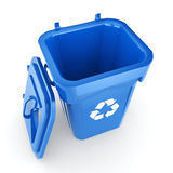 3D rendering Blue Recycling Bin. Isolated on white background Stock Photography