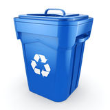 3D rendering Blue Recycling Bin. Isolated on white background Royalty Free Stock Photography