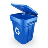 3D rendering Blue Recycling Bin. Isolated on white background Royalty Free Stock Images