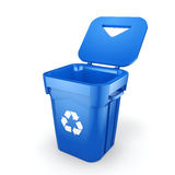 3D rendering Blue Recycling Bin. On white background Stock Image