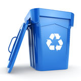 3D rendering Blue Recycling Bin. On white background Stock Photo