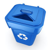 3D rendering Blue Recycling Bin. On white background Royalty Free Stock Photos