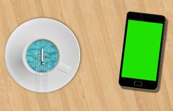 3D rendering, blue sea ocean on sunny day into coffee cup and tourism airplane fly on it on wood table near smartphone with chroma Stock Images