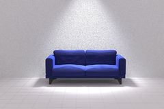 3D rendering of Blue sofa in a white room Stock Photos