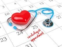 3d rendering of blue stethoscope, calendar Royalty Free Stock Photo