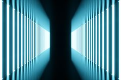 3D rendering blue-tint Illuminated corridor with blue neon light. Elegant futuristic neon light on wall. 3D rendering blue-tint Illuminated corridor with blue Royalty Free Stock Photography