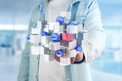 3d rendering blue and white cube on a futuristic interface. View of a 3d rendering blue and white cube on a futuristic interface Royalty Free Stock Photo