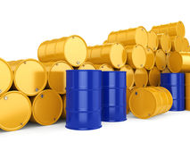3D rendering blue and yellow barrels Stock Photos