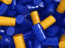 3D rendering blue and yellow barrels Stock Images