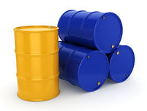 3D rendering blue and yellow barrels Royalty Free Stock Image