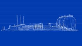3d rendering of a blueprint industrial city with detailed object. S on blue background vector illustration
