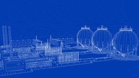 3d rendering of a blueprint industrial city with detailed object. S on blue background royalty free illustration