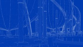 3d rendering of a blueprint industrial city with detailed object. S on blue background stock illustration