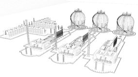 3d rendering of a blueprint industrial city with detailed object. S Royalty Free Stock Images