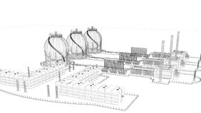 3d rendering of a blueprint industrial city with detailed object. S Stock Photography