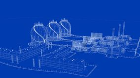 3d rendering of a blueprint industrial city with detailed object. S Royalty Free Stock Photo